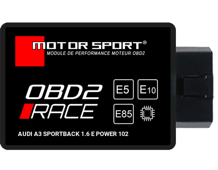 Boitier additionnel Audi A3 Sportback 1.6 E POWER 102 - OBD2 RACE